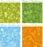 Set of Seasons backgrounds - vector 3D seamless pattern.