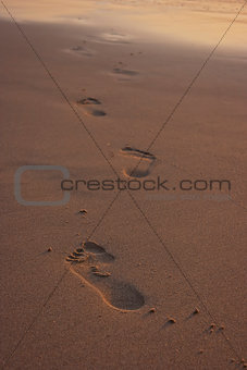 Footprints on beach.