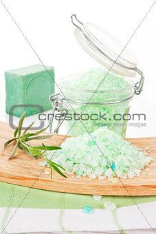 Bath salt. Wellness background.