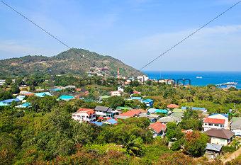 Aerial view of Sichang Island ,Chonburi ,Thailand.