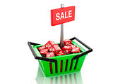 3d Shopping basket with red cubes. sale concept on white backgro