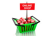 3d Shopping basket with red cubes. online concept on white backg