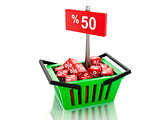 3d Shopping basket with red cubes and fifty percent  on white ba