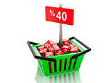 3d Shopping basket with red cubes and 40 percent  on white backg