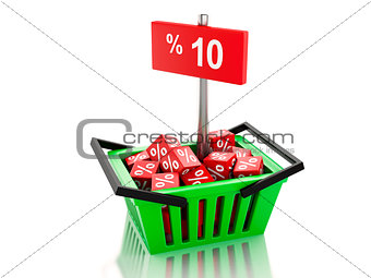3d Shopping basket with red cubes and 10 percent  on white backg