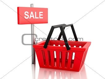 3d red shopping basket. sale concept on white background