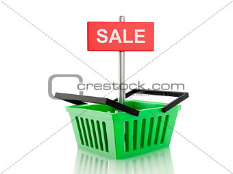 3d shopping basket. sale concept on white background