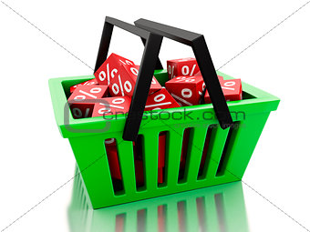 3d Shopping basket with discount cubes on white background