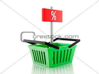 3d Shopping basket and percent sign on white background
