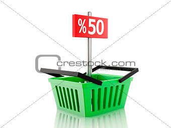 3d Shopping basket with 50 percent sign on white background
