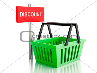 3d Shopping basket. online shop concept on white background