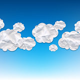 Clouds Crushed Paper And Blue Background