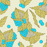 Abstract hand drawn leaves and berries seamless pattern