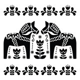 Swedish Dala or Daleclarian horse black and white folk art pattern