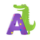 Green Alligator With Letter