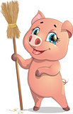 pig and broom