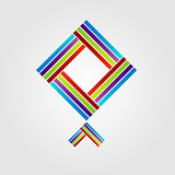 Abstract kite shaped logo for business