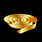 Ribbon scroll in gold color