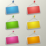 Colorful blank labels with pins template