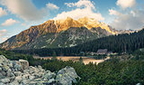 Mountain lake Popradske in High Tatras