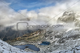 Beautiful landscape of mountain lakes in High Tatras Mountains