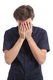 Ashamed or worried man covering face with his hands