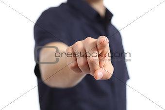 Close up of a man hand pointing at camera