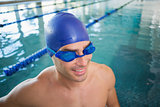Close up of swimmer in pool at leisure center
