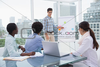 Casual business team working together at desk