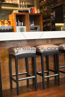 Close up of several bar stool