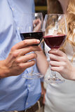 Close up of lovely couple enjoying red wine