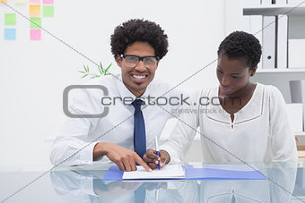 Business team working about a document