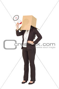 Anonymous businesswoman holding a megaphone