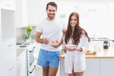 Young couple having a healthy breakfast
