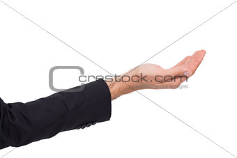 Close up of businessman with empty hand open