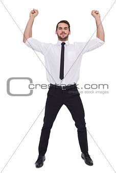 Smiling businessman lifting up something heavy