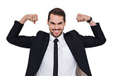 Happy businessman in suit cheering