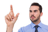 Businessman measuring something with his fingers