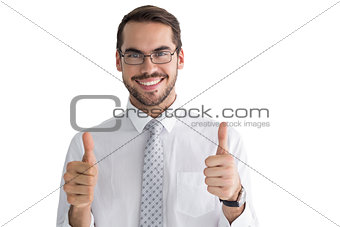 Positive businessman posing with thumbs up