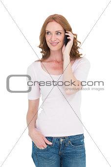 Pretty redhead on the phone