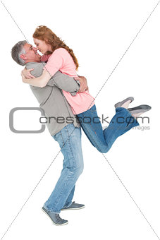 Casual couple hugging each other