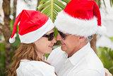 Holidaying couple celebrating christmas