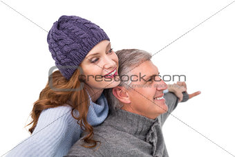 Carefree couple in warm clothing