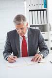 Mature businessman writing on document