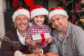 Three generation family celebrating christmas
