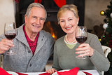 Couple toasting to the camera with red wine
