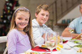 Portrait of smiling little girl at christmas dinner