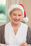 Portrait of a pretty mature woman in santa hat