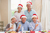 Happy extended family in santa hat toasting at camera
