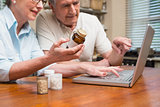 Senior couple looking up medication online